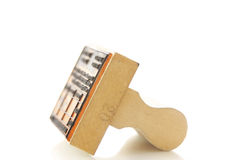 Approval stamp. Wooden stamp on white background -use for review and approval stock photos