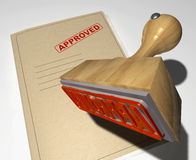 Approval wooden stamp Royalty Free Stock Images