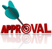 Approval Word Arrow Target Seeking Acceptance Good Reaction. An arrow hitting a bullseye target in the word Approval to symbolize seeking to be approved or vector illustration