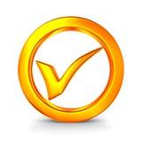 Approvazione di simbolo su priorità bassa bianca Fotografie Stock Libere da Diritti