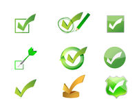 Approve check marks icon set illustration design Royalty Free Stock Photos