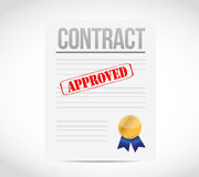 Approve contract and ribbon seal illustration Stock Photography