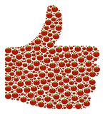 Approve Figure of Tomato Vegetable Icons. Validate collage created of tomato vegetable elements in variable sizes. Abstract vector thumb up concept. Tomato Royalty Free Stock Photography