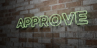 APPROVE - Glowing Neon Sign on stonework wall - 3D rendered royalty free stock illustration Royalty Free Stock Photography