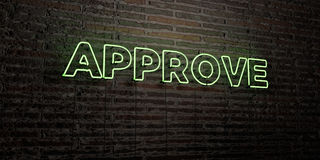 APPROVE -Realistic Neon Sign on Brick Wall background - 3D rendered royalty free stock image Stock Images