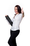 We approve!. Woman giving thumbs up, smiling and saying Yeah! on white background Stock Images