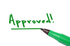 Approved. Text with green marker pen on white background Stock Image