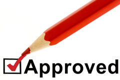 Approved. Check white background red pencil Royalty Free Stock Photos