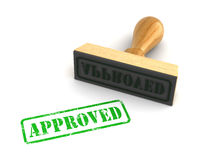 Approved. Rubber stamp with Approved sign on white background. Computer generated image Royalty Free Stock Image