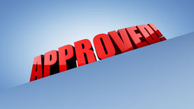 Approved!. An illustration of a red colored 3D banner for sale with caption 'APPROVED!, on a blue background Stock Photos