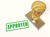 Approved. Inscription and stamp on white background Royalty Free Stock Images