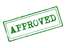 Approved. Green approved tampon concept of quality and agreement Stock Image