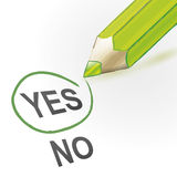 Approved. Yes outline, green painted style pencil Stock Images