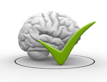 Approved. 3d brain and a sign check. Approved. 3d render Royalty Free Stock Images