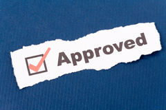 Approved. Text Approved close up shot for background stock image