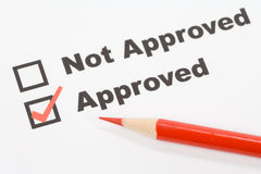 Approved. Text Approved close up shot for background royalty free stock photography