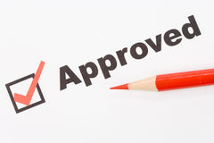 Approved. Text Approved close up shot for background royalty free stock photos