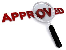 Approved. 3d approved text with magnifier on white background Royalty Free Stock Image