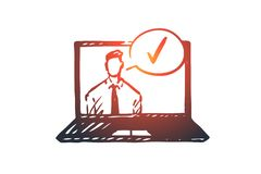 Approved, accepted concept. Hand drawn sketch isolated illustration. Approved, accepted vector concept. Businessman on screen of laptop and approval mark. Hand royalty free illustration