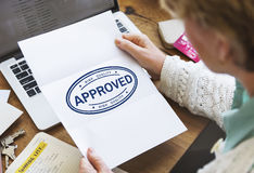 Approved Agreement Authorized Stamp Mark Concept Stock Photography