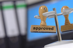 Approved approval. Stamp marked with approved / approval Stock Photos