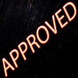 Approved Approved neon vintage seal Stock Photo
