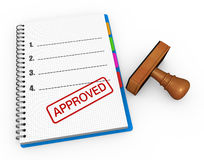 Approved as concept. Notebook and rubber stamp with the word approved Royalty Free Stock Photo
