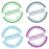 Approved badge isolated on white background. Flat style round label with text. Circular emblem vector illustration Royalty Free Stock Photo