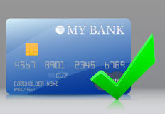 Approved bank card. Blue bank card and a green check Stock Photo