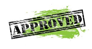 Approved black and green stamp on white background. Approved black and green  stamp Stock Photo