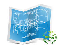 Approved blueprint project Royalty Free Stock Photos