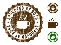 Approved By Boss Stamp Seal with Scratched Texture. Approved By Boss medallion stamp. Vector seal watermark imitation with grunge style and coffee color. Brown stock illustration