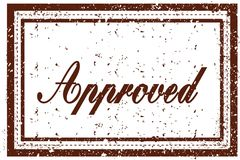 APPROVED brown square distressed stamp. Illustration image Royalty Free Stock Images