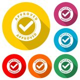 Approved button sign icon, color icon with long shadow. Simple vector icons set Stock Photography