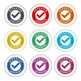 Approved button sign icon, color icons set. Simple vector icon royalty free illustration