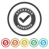 Approved button sign icon, 6 Colors Included. Simple  icons set Royalty Free Stock Photos