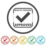 Approved button sign icon, 6 Colors Included. Simple vector icons set Royalty Free Stock Image