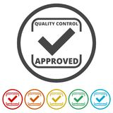 Approved button sign icon, 6 Colors Included. Simple vector icons set stock illustration