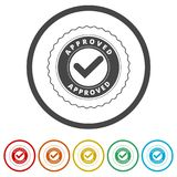 Approved button sign icon, 6 Colors Included. Simple vector icons set Stock Images