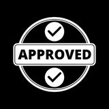 Approved button sign icon on dark background. Simple vector icon royalty free illustration