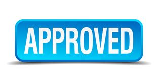 Approved button. Approved square 3d realistic isolated web button. approved Stock Photo