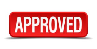 Approved button. Approved square 3d realistic isolated web button. approved Stock Photography