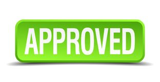 Approved button. Approved square 3d realistic isolated web button. approved Stock Image