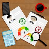 Approved candidate for credit concept. Credit Inspector Workplace. Vector finance approval and rejected for mortgage illustration Stock Photo