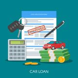 Approved car loan vector illustration. Buying automobile concept. Auto keys, money, application form Royalty Free Stock Photos