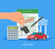 Approved car loan vector illustration. Buying automobile concept. Hand holding key Royalty Free Stock Photography