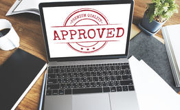 Approved Certified Business Stamp Concept Stock Photo