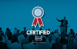 Approved Certified Quality Guarantee Prize Award Concept. Business People Discuss Approved Certified Quality Guarantee Prize Award stock images