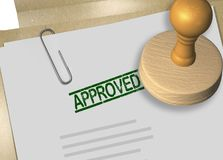 APPROVED - confirmation concept. 3D illustration of APPROVED stamp title on business document or contract Stock Images
