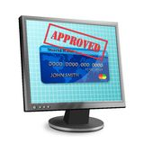 Approved Credit. Computer monitor with APPROVED stamped over a credit card vector illustration